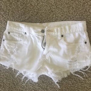White boyfriend cut jean shorts